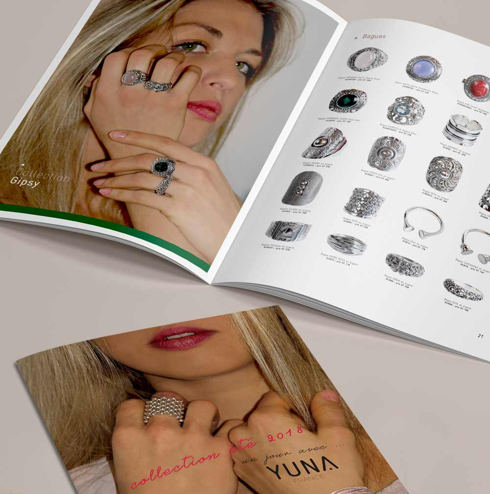 Mise en page d'un catalogue de Bijoux - Collection été 2018
