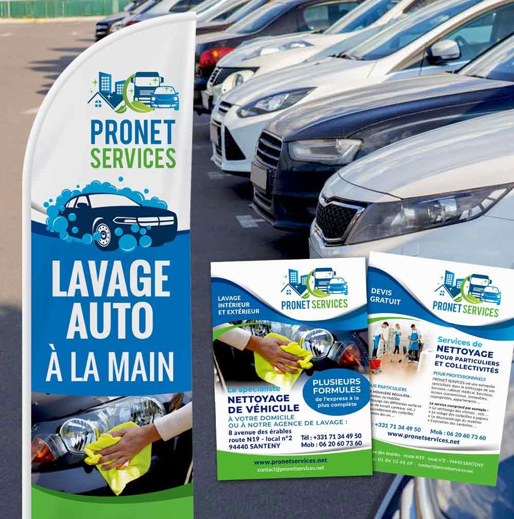 Drapeau et flyer PRONET SERVICES